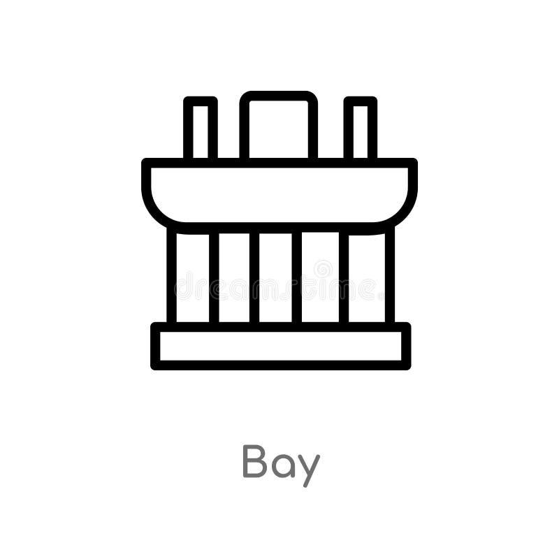 icône de vecteur de baie d'ensemble ligne simple noire d'isolement illustration d'élément de concept de monuments icône editable  illustration de vecteur