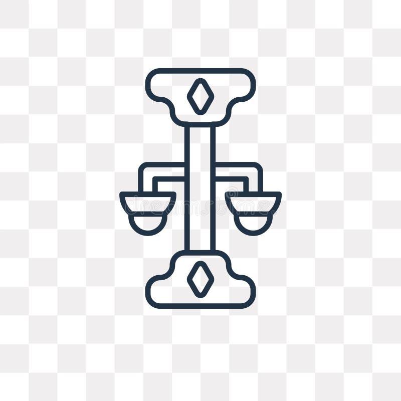 Icône de vecteur de Balance d'isolement sur le fond transparent, bibliothèque linéaire illustration stock