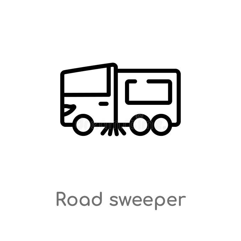 icône de vecteur de balayeuse de route d'ensemble ligne simple noire d'isolement illustration d'élément de concept de transport C illustration de vecteur