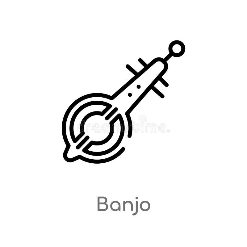 icône de vecteur de banjo d'ensemble ligne simple noire d'isolement illustration d'élément de concept de l'Afrique icône editable illustration libre de droits