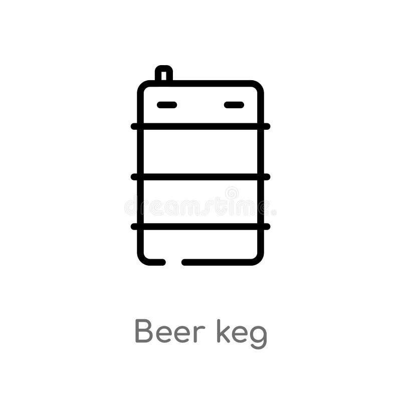 icône de vecteur de barillet de bière d'ensemble ligne simple noire d'isolement illustration d'élément de nourriture et de concep illustration de vecteur