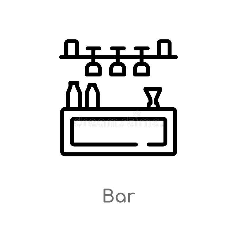 icône de vecteur de barre d'ensemble ligne simple noire d'isolement illustration d'élément de concept d'été icône editable de bar illustration stock