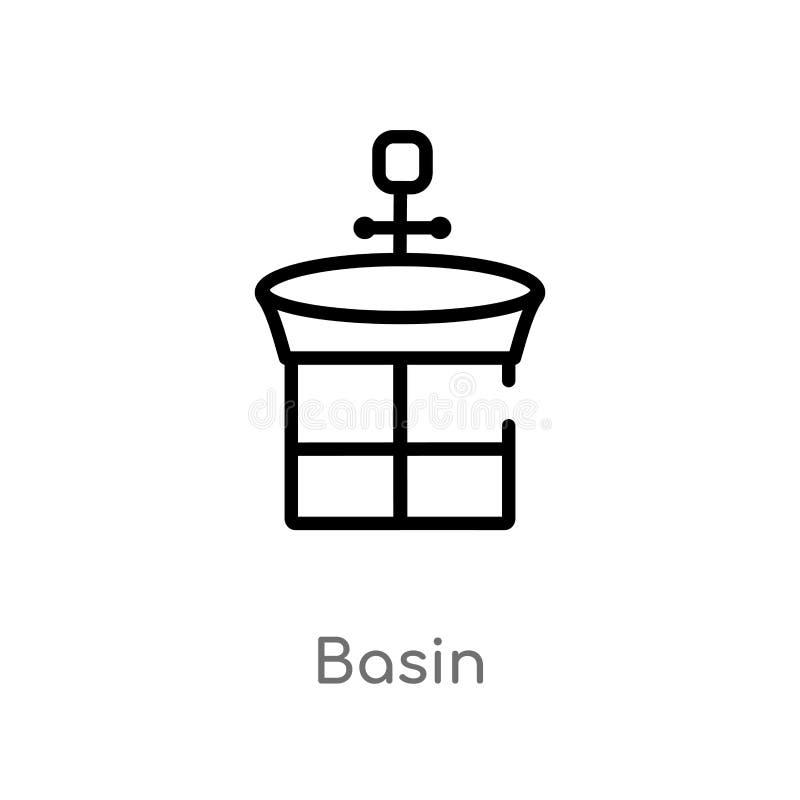 icône de vecteur de bassin d'ensemble ligne simple noire d'isolement illustration d'élément de concept de vacances bassin editabl illustration stock