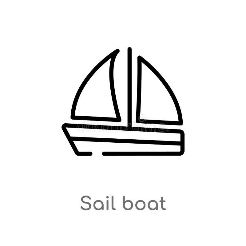 icône de vecteur de bateau à voile d'ensemble ligne simple noire d'isolement illustration d'élément de concept de transport voile illustration stock