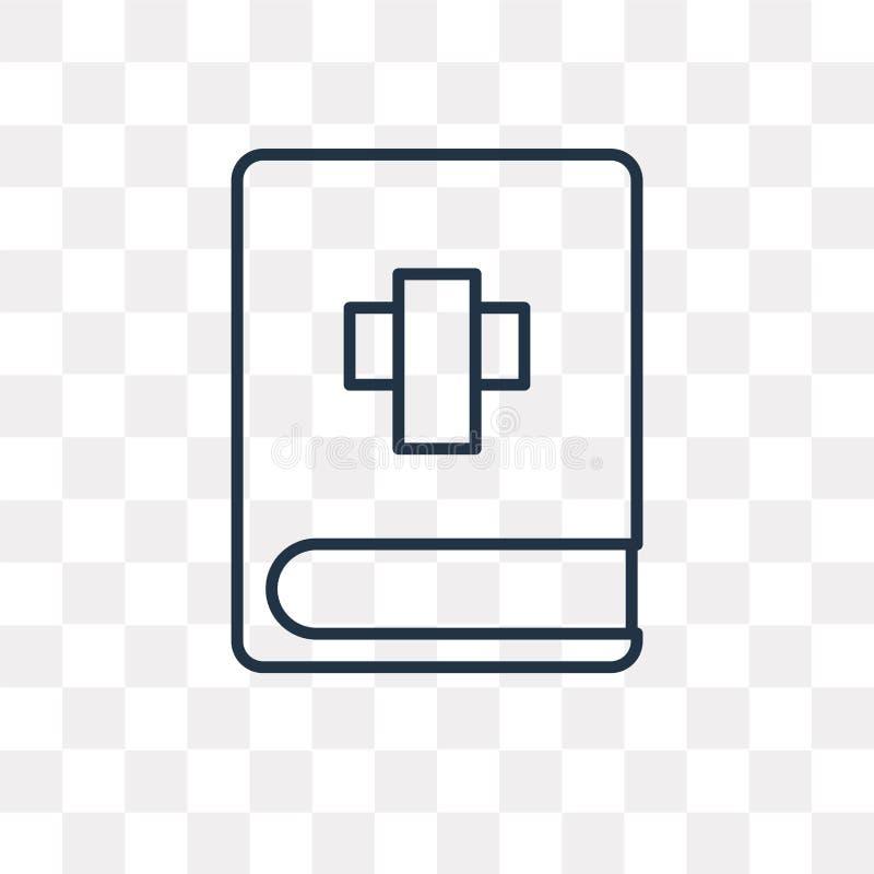 Icône de vecteur de bible d'isolement sur le fond transparent, bavoir linéaire illustration libre de droits