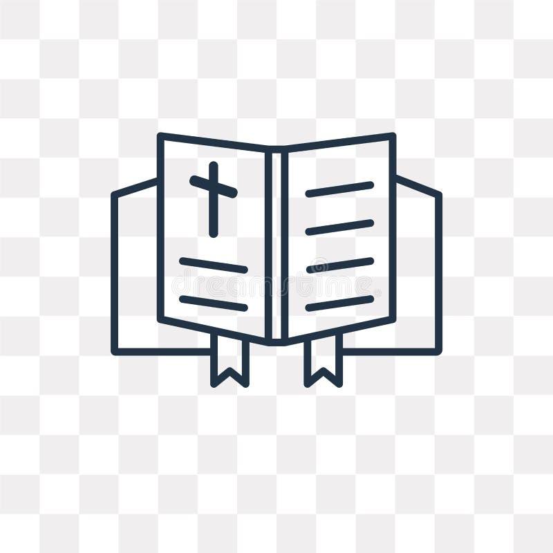 Icône de vecteur de bible d'isolement sur le fond transparent, bavoir linéaire illustration de vecteur