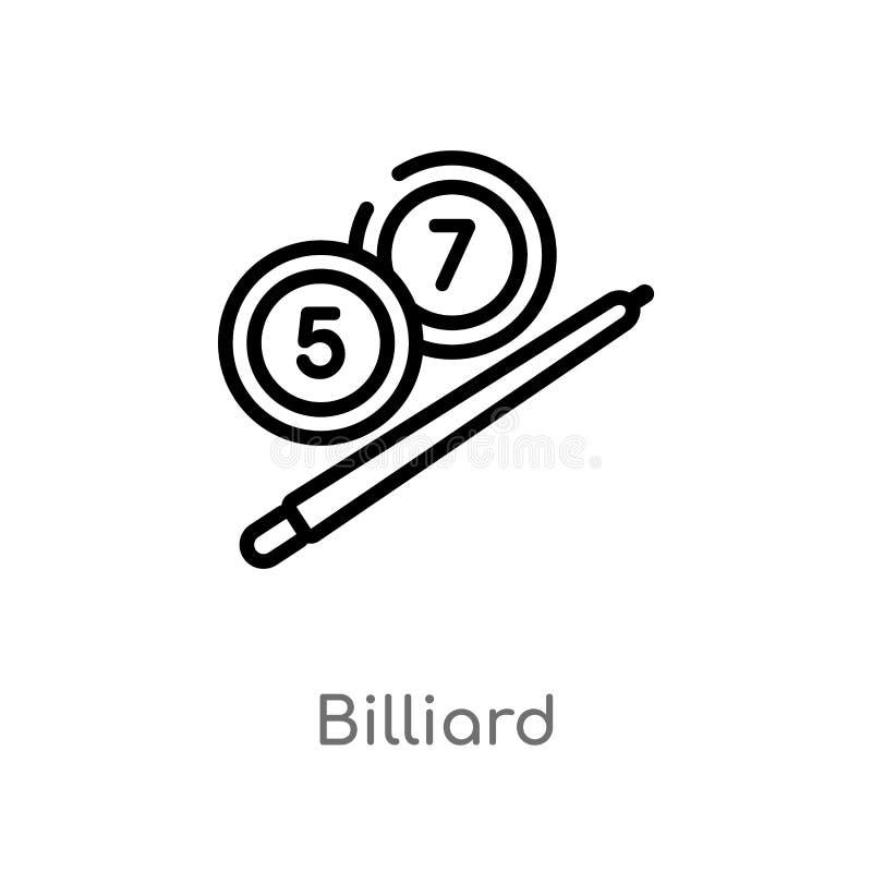 icône de vecteur de billard d'ensemble ligne simple noire d'isolement illustration d'élément de concept de temps libre Course Edi illustration libre de droits