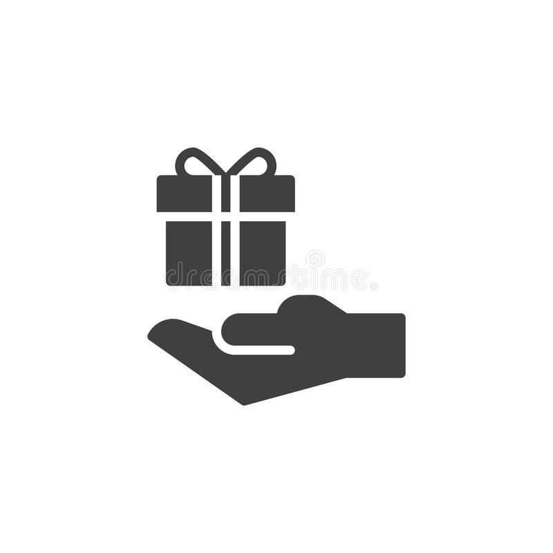 Icône de vecteur de boîte-cadeau de prise de main illustration stock