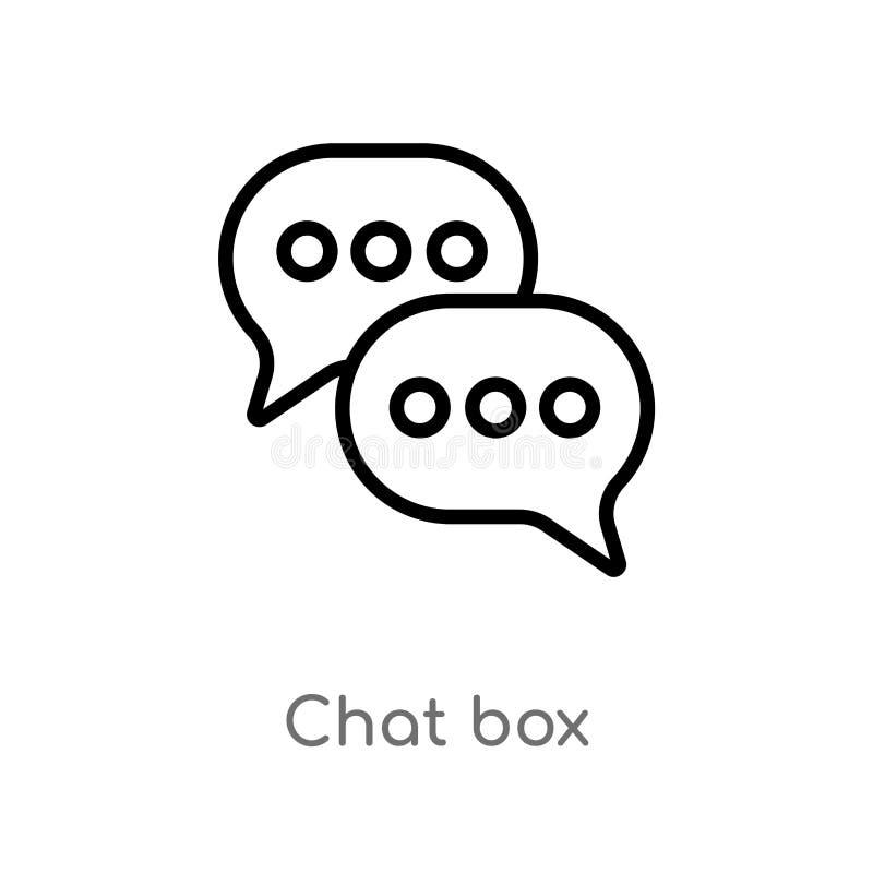 icône de vecteur de boîte de causerie d'ensemble ligne simple noire d'isolement illustration d'?l?ment de concept social boîte ed illustration libre de droits