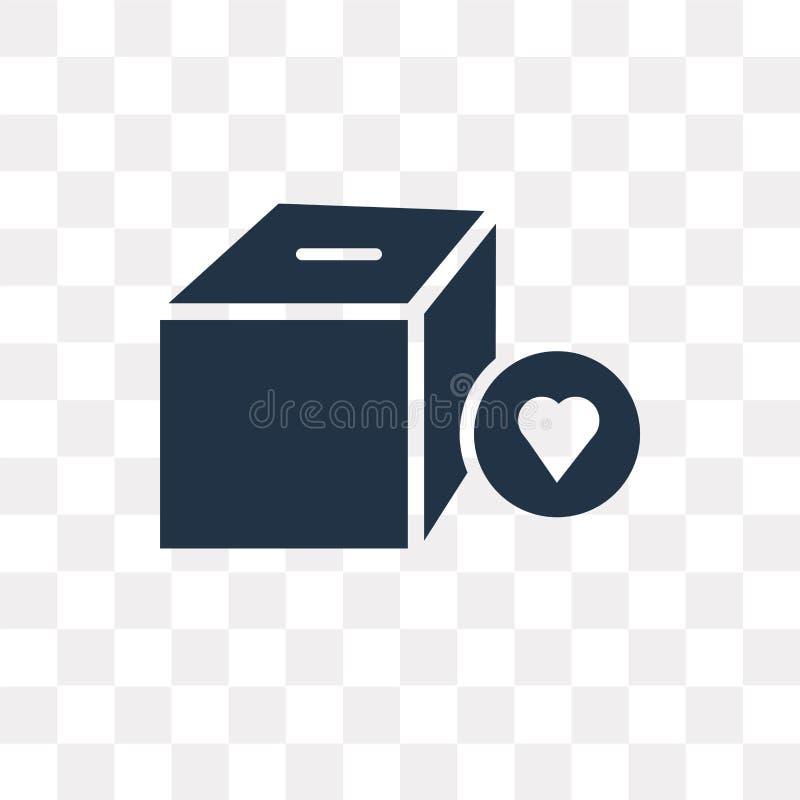 Icône de vecteur de boîte de donation d'isolement sur le fond transparent, Don illustration stock