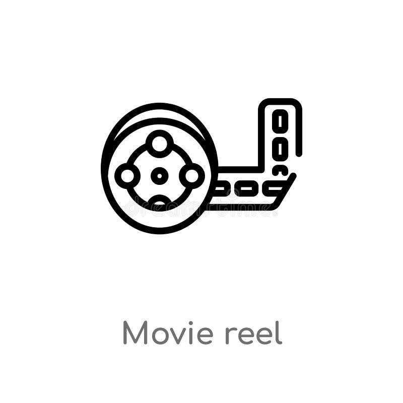 icône de vecteur de bobine de film d'ensemble ligne simple noire d'isolement illustration d'élément de concept de cinéma film edi illustration libre de droits