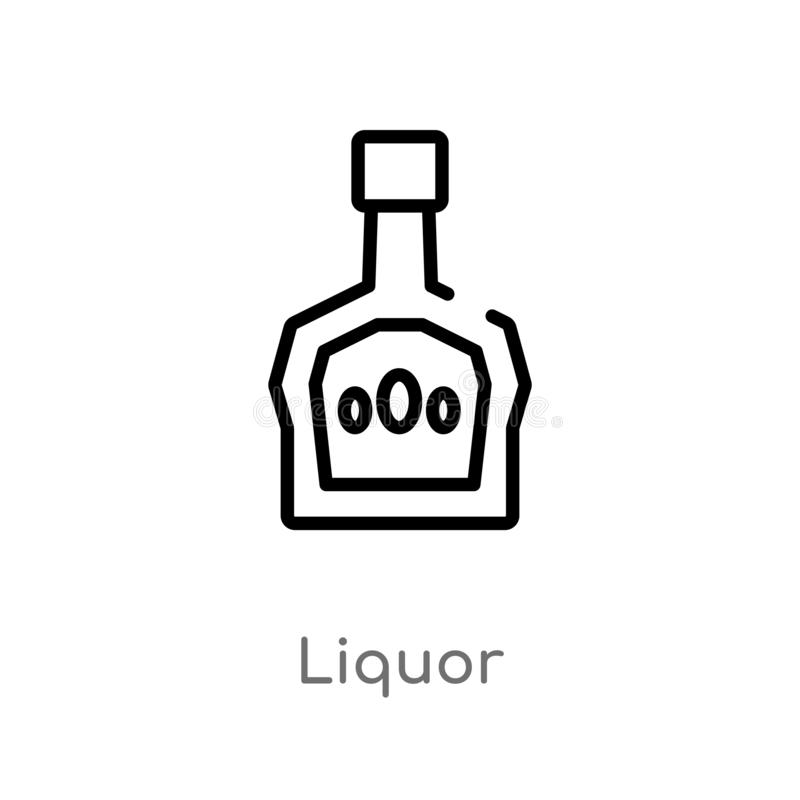 icône de vecteur de boisson alcoolisée d'ensemble ligne simple noire d'isolement illustration d'élément de concept de boissons bo illustration libre de droits