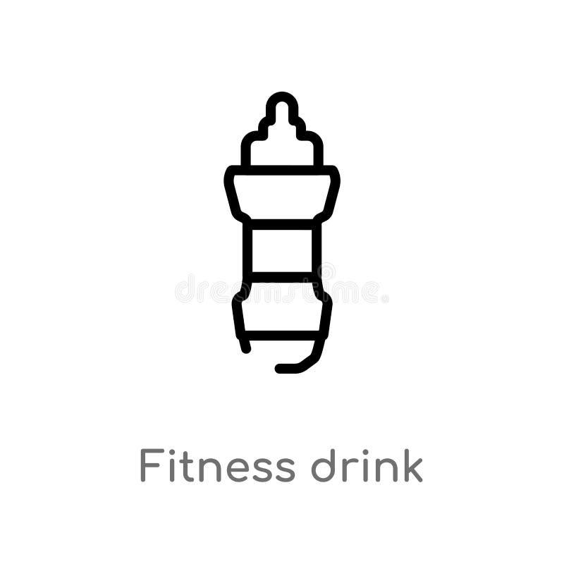 icône de vecteur de boissons de forme physique d'ensemble ligne simple noire d'isolement illustration d'élément de gymnase et de  illustration stock