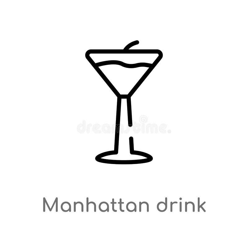 icône de vecteur de boissons de Manhattan d'ensemble ligne simple noire d'isolement illustration d'?l?ment de concept de boissons illustration de vecteur