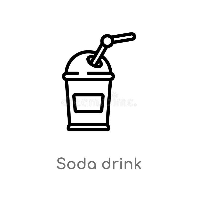 icône de vecteur de boissons de soude d'ensemble ligne simple noire d'isolement illustration d'élément de concept de football amé illustration de vecteur