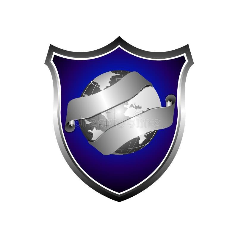 icône de vecteur de bouclier du globe 3D signe plat rempli pour le concept mobile illustration de vecteur