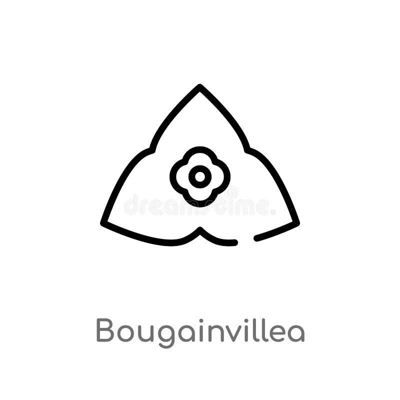 icône de vecteur de bouganvillée d'ensemble ligne simple noire d'isolement illustration d'élément de concept de nature Course Edi illustration stock