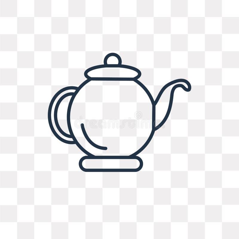 Icône de vecteur de bouilloire d'isolement sur le fond transparent, KE linéaire illustration stock