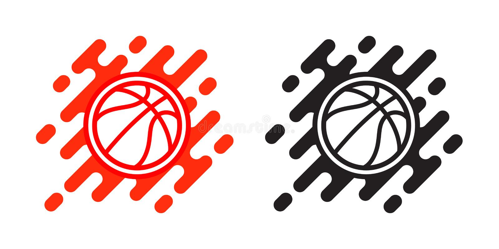 Icône de vecteur de boule de basket-ball d'isolement sur le blanc Conception de logo de basket-ball Illustration d'icône extérieu illustration libre de droits