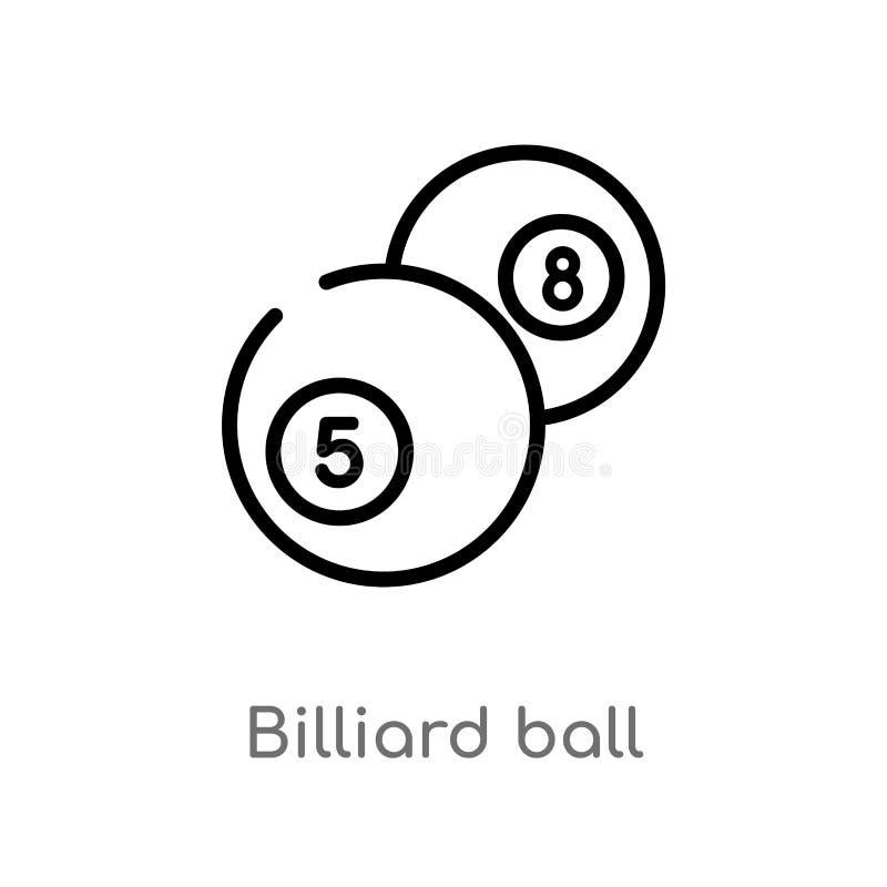 icône de vecteur de boule de billard d'ensemble ligne simple noire d'isolement illustration d'élément de concept de jeu Course Ed illustration stock