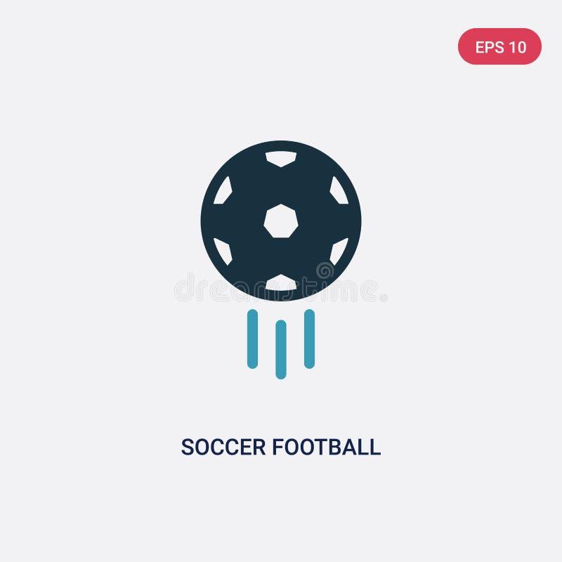 Ic?ne de vecteur de boule du football du football de deux couleurs de concept de sports le symbole bleu d'isolement de signe de v illustration libre de droits
