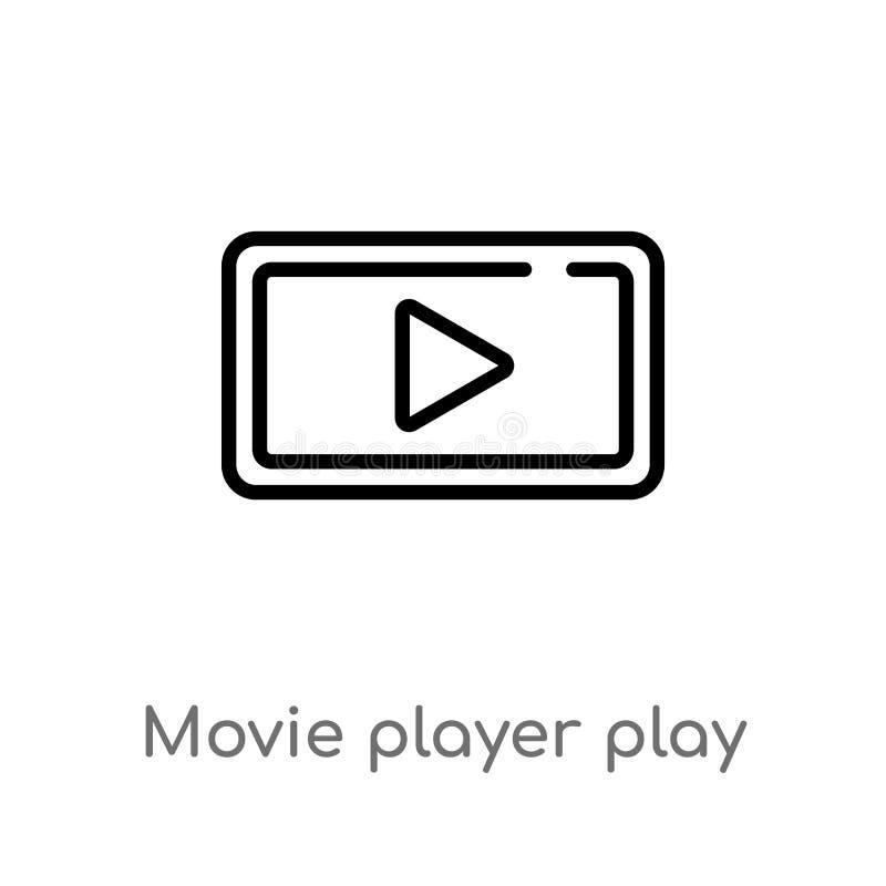 icône de vecteur de bouton de jeu d'acteur de cinéma d'ensemble ligne simple noire d'isolement illustration d'?l?ment de la musiq illustration libre de droits