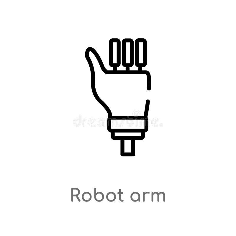 icône de vecteur de bras de robot d'ensemble ligne simple noire d'isolement illustration d'élément du futur concept de technologi illustration stock