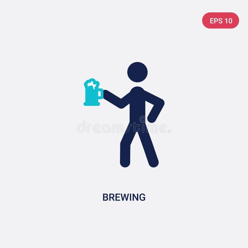 icône de vecteur de brassage de deux couleurs d'activité et de concept de passe-temps le symbole bleu d'isolement de signe de vec illustration de vecteur