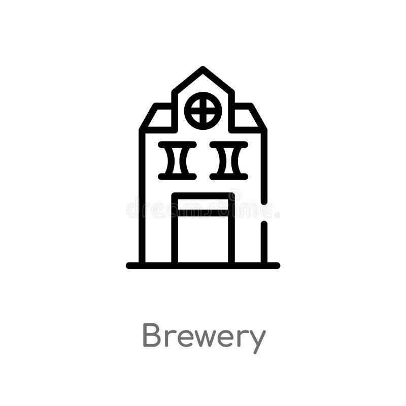 icône de vecteur de brasserie d'ensemble ligne simple noire d'isolement illustration d'élément de concept de boissons brasserie e illustration libre de droits