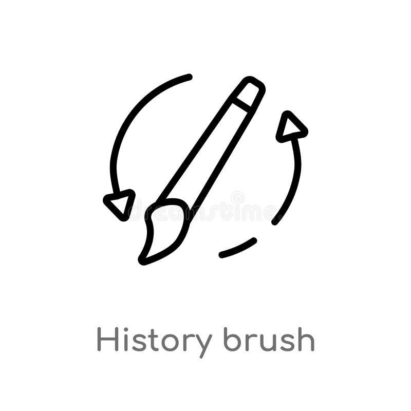 icône de vecteur de brosse d'histoire d'ensemble ligne simple noire d'isolement illustration d'élément de notion générale Course  illustration libre de droits