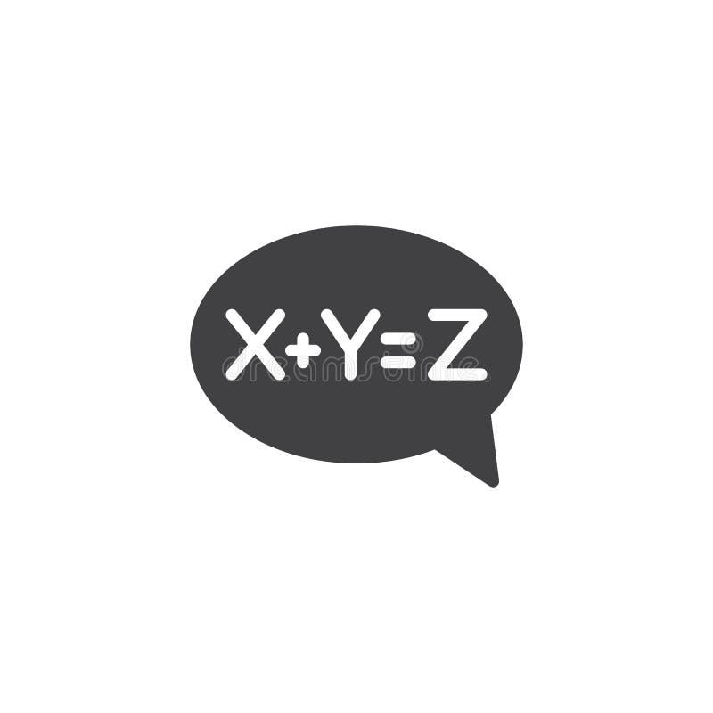Icône de vecteur de bulle de solution d'équation illustration stock