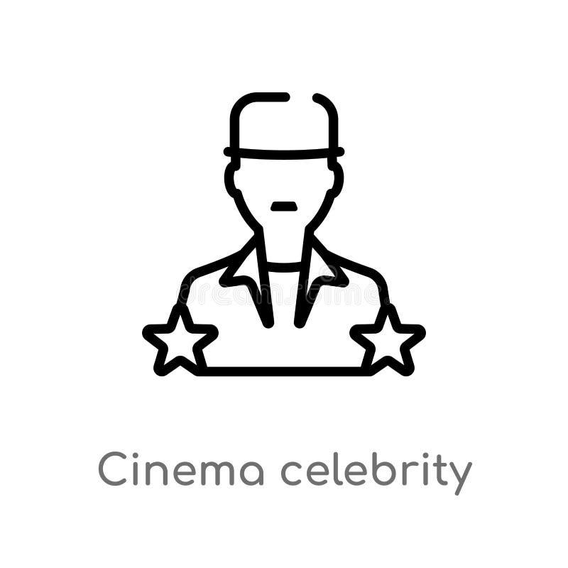 icône de vecteur de célébrité de cinéma d'ensemble ligne simple noire d'isolement illustration d'élément de concept de cinéma Cou illustration stock