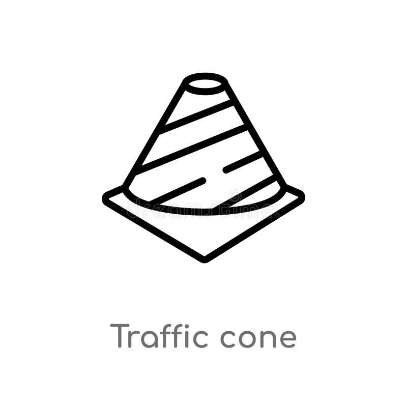 icône de vecteur de cône du trafic d'ensemble ligne simple noire d'isolement illustration d'élément de concept d'outils Course Ed illustration de vecteur