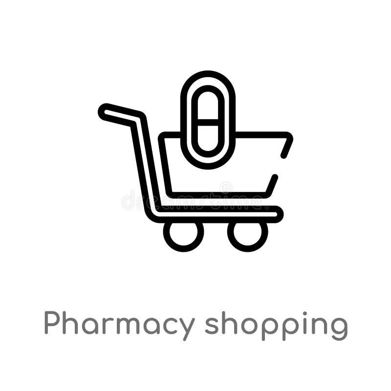 icône de vecteur de caddie de pharmacie d'ensemble ligne simple noire d'isolement illustration d'élément de concept médical Vecte illustration libre de droits