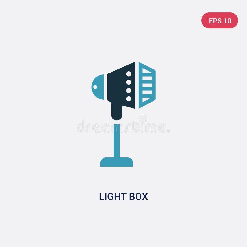 Icône de vecteur de caisson lumineux de deux couleurs de concept de photographie le symbole bleu d'isolement de signe de vecteur  illustration de vecteur