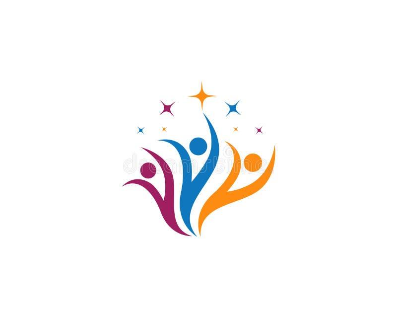 Icône de vecteur de calibre de logo d'adoption et de soins de santé communautaires illustration stock