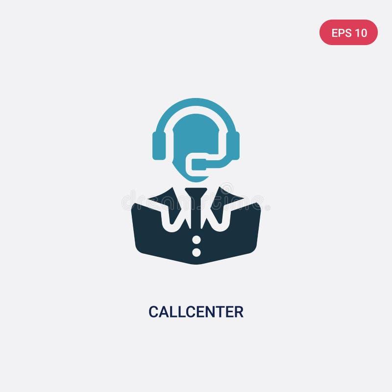 Icône de vecteur de callcenter de deux couleurs de concept de professions le symbole bleu d'isolement de signe de vecteur de call illustration stock