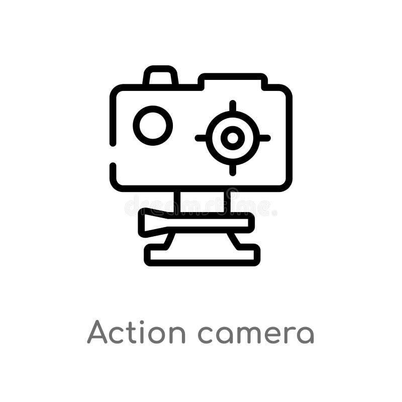 icône de vecteur de caméra d'action d'ensemble ligne simple noire d'isolement illustration d'élément de concept d'ordinateur Cour illustration libre de droits