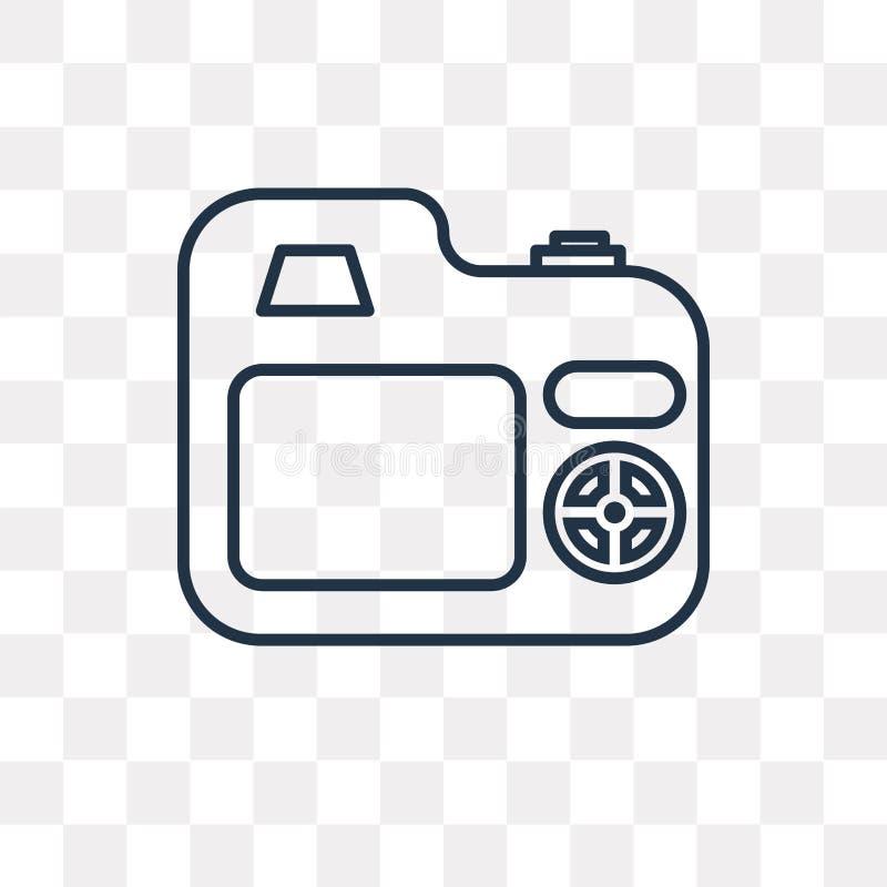Icône de vecteur de caméra de photo d'isolement sur le fond transparent, lin illustration stock