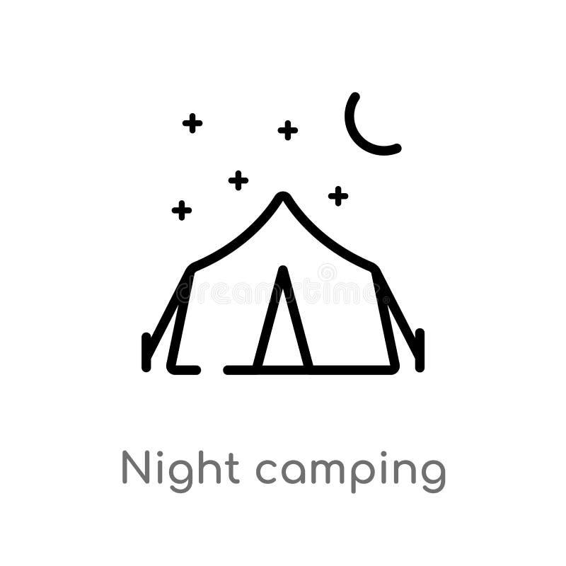 ic?ne de vecteur de camping de nuit d'ensemble ligne simple noire d'isolement illustration d'?l?ment de concept de nourriture nui illustration stock