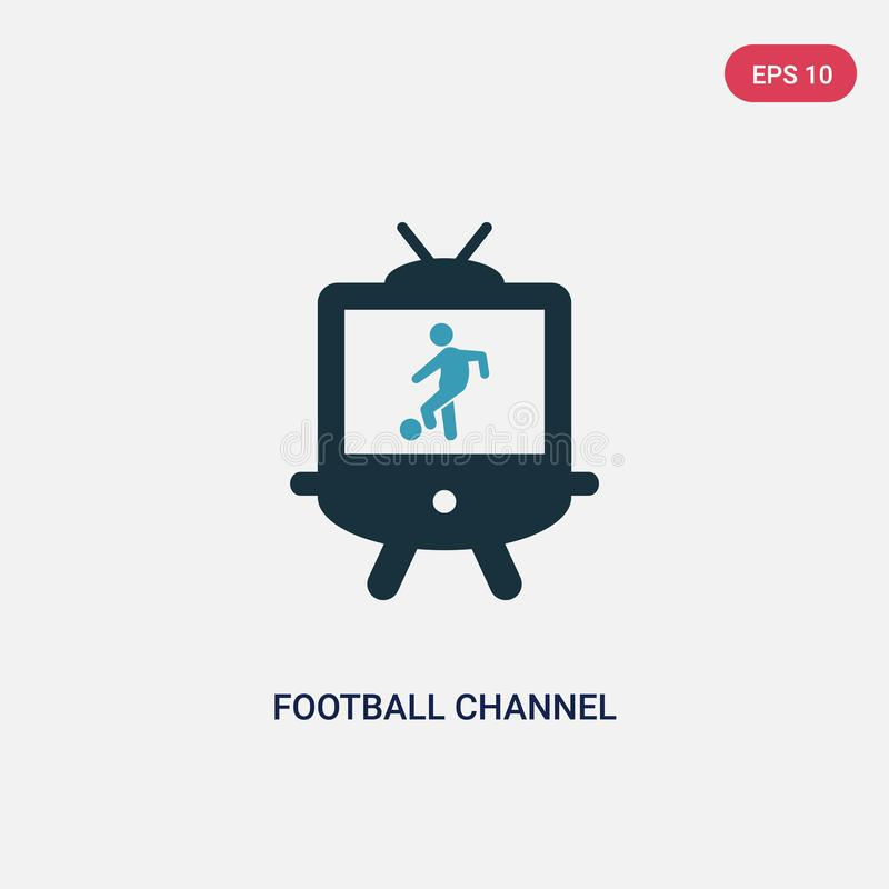 Icône de vecteur de canal du football de deux couleurs de concept de sports le symbole bleu d'isolement de signe de vecteur de ca illustration stock