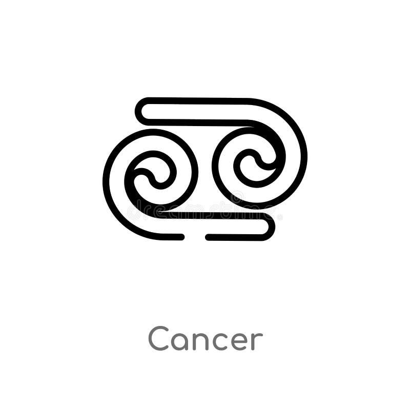 icône de vecteur de cancer d'ensemble ligne simple noire d'isolement illustration d'élément de concept de zodiaque cancer editabl illustration libre de droits
