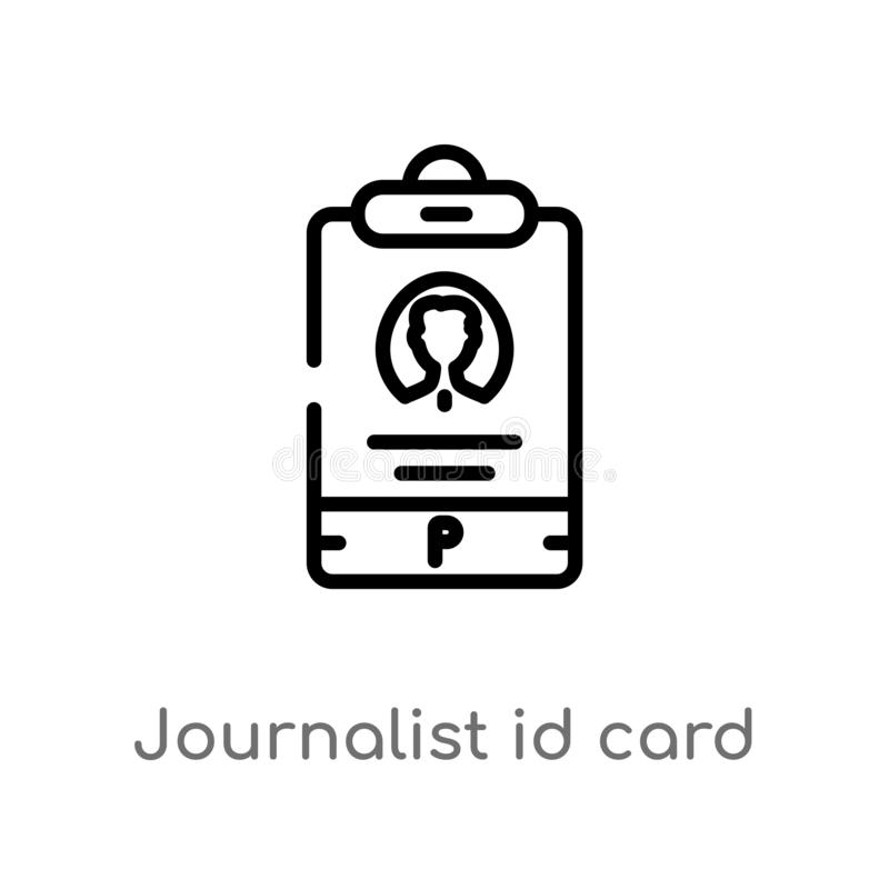icône de vecteur de carte d'identification de journaliste d'ensemble ligne simple noire d'isolement illustration d'élément de con illustration stock