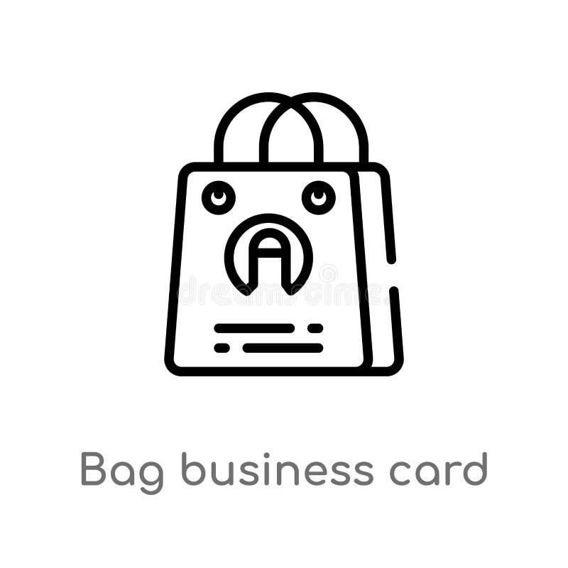 icône de vecteur de carte de visite professionnelle de visite de sac d'ensemble ligne simple noire d'isolement illustration d'élé illustration stock