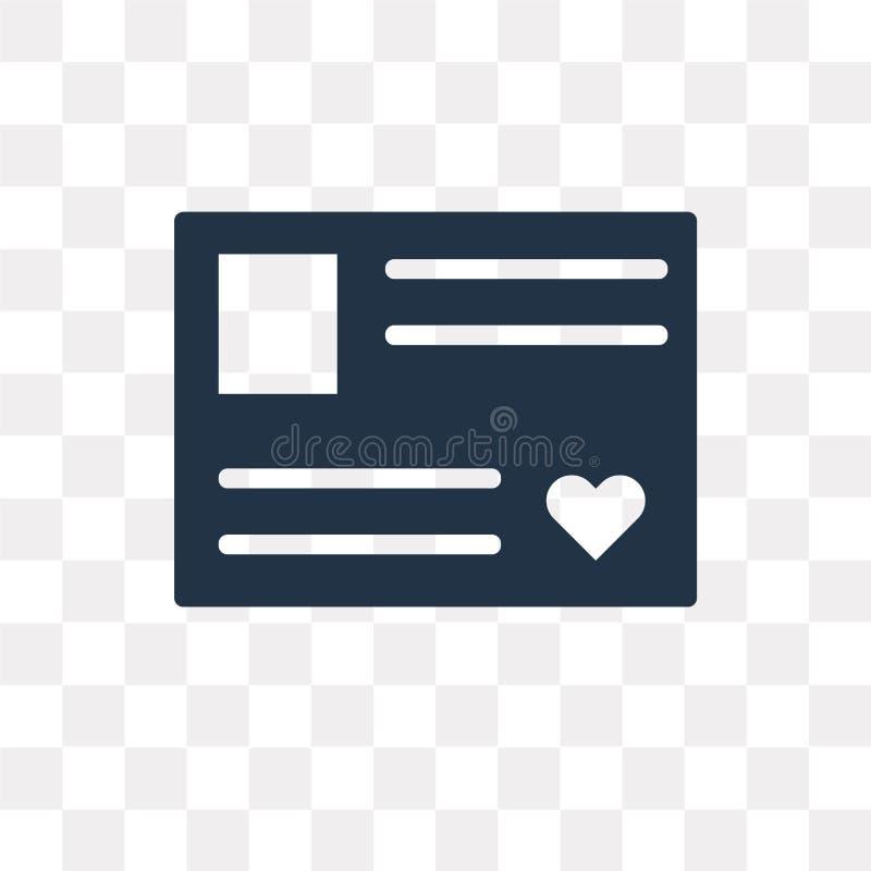 Icône de vecteur de cartes postales d'isolement sur le fond transparent, Postca illustration de vecteur