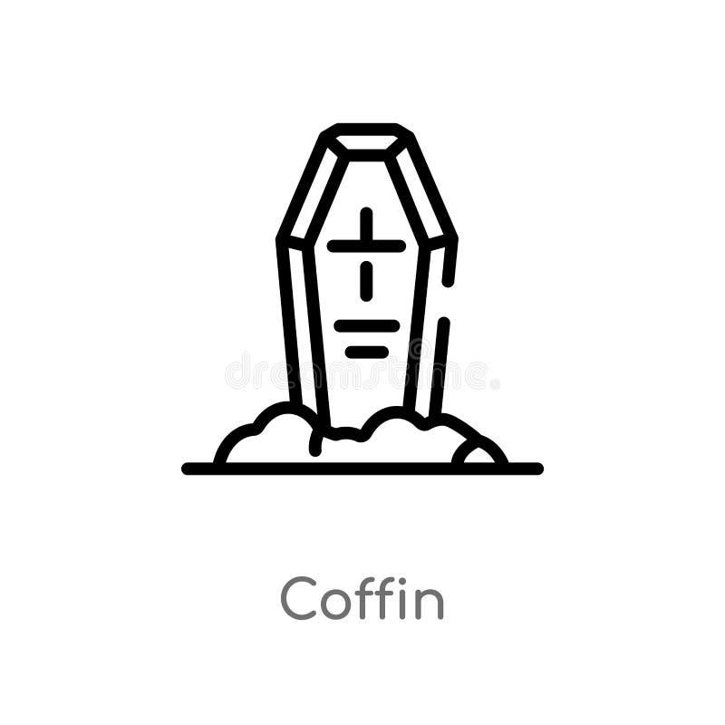 icône de vecteur de cercueil d'ensemble ligne simple noire d'isolement illustration d'élément de concept occidental sauvage cercu illustration de vecteur