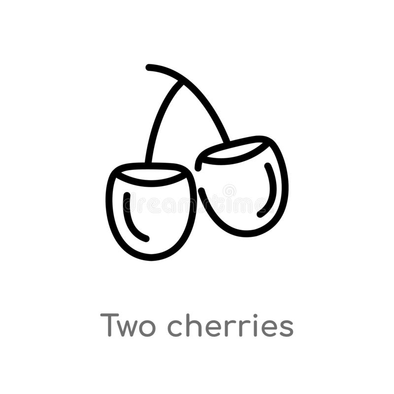 icône de vecteur de cerises d'ensemble deux ligne simple noire d'isolement illustration d'élément de concept de Bistros et de res illustration de vecteur