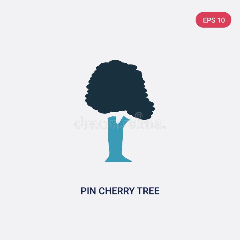 Icône de vecteur de cerisier de goupille de deux couleurs de concept de nature le symbole bleu d'isolement de signe de vecteur de illustration libre de droits