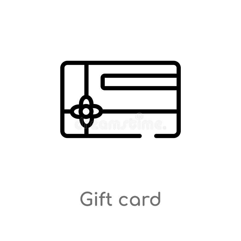 icône de vecteur de chèque-cadeau d'ensemble ligne simple noire d'isolement illustration d'?l?ment de concept de commerce ?lectro illustration stock