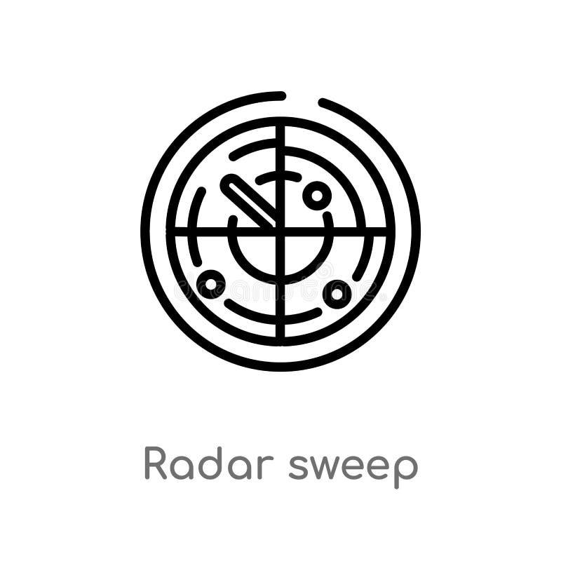ic?ne de vecteur de champ de radar d'ensemble ligne simple noire d'isolement illustration d'?l?ment de concept de technologie Cou illustration de vecteur